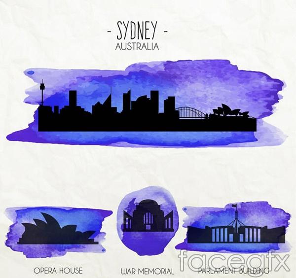 Watercolor Australia building vector