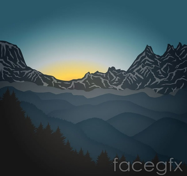 Mountain scenery of the Sunrise vector