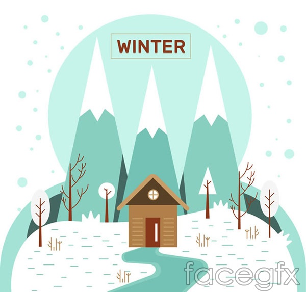 Winter Chalet landscape vector