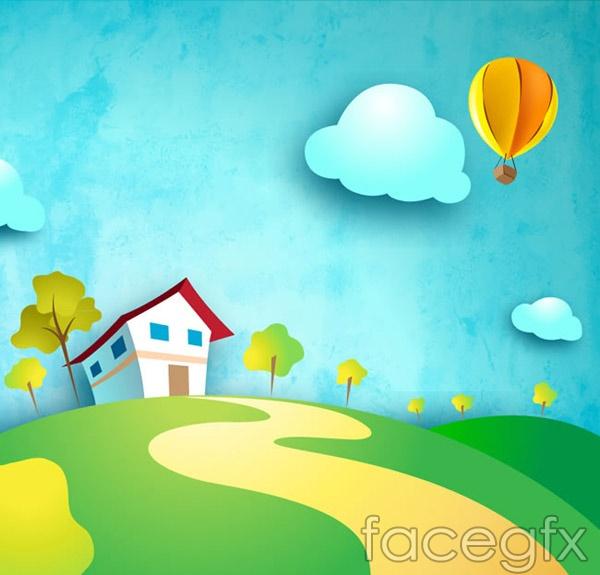 Cartoon House with hot air balloon vector