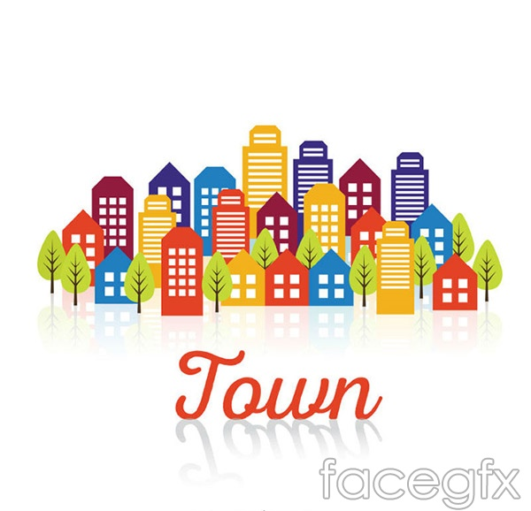 Cartoon town building complex vector