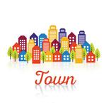 Cartoon town building complex vector