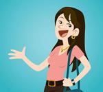 Hair cartoon girl vector