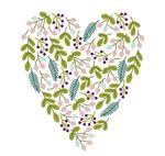 Leaves berries mix love vector