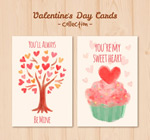 Watercolor Valentine cards vector