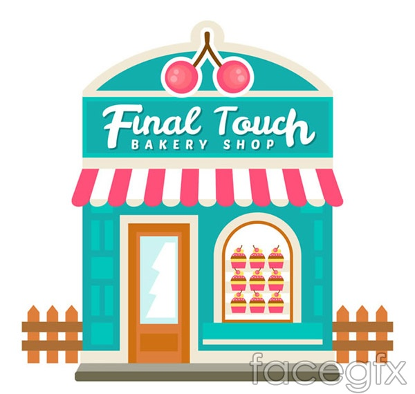Cartoon cake shop vectors