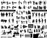 Black and white figures vector
