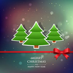 Christmas tree sticker cards vector