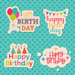 Colorful birthday stickers vector