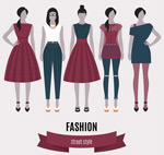 Fashion street style girl vector