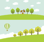 Green countryside scenery vector