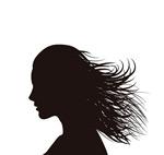 Long hair woman face silhouette vector