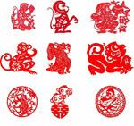 Monkey paper-cut designs vector