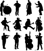 Musicians silhouettes vector