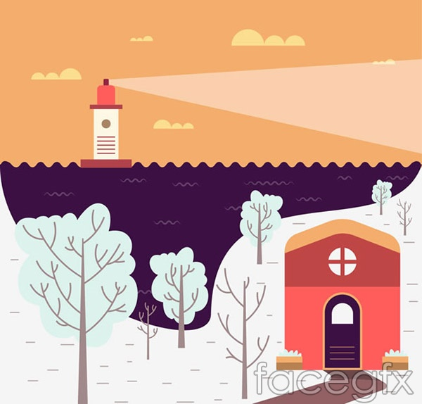 Cartoon winter harbour views vector