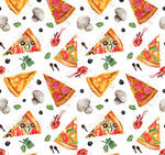 Background of pizza and mushrooms vector