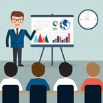 Cartoon man business presentation vector