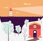 Cartoon winter harbour views vector