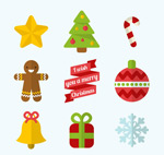 Color Christmas icons vector