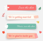 Long wedding stickers vector