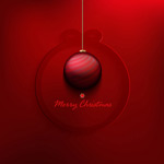Red Christmas ball cards vector