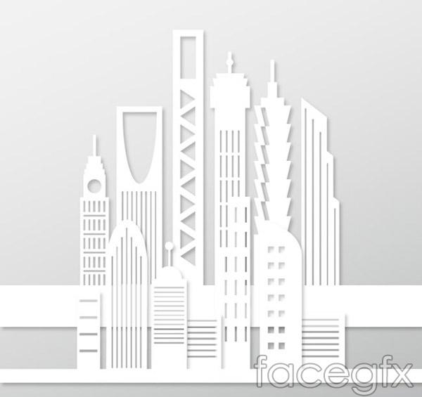 White skyscrapers vector