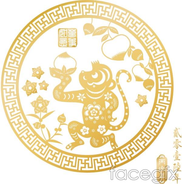Golden Monkey paper cuts vector