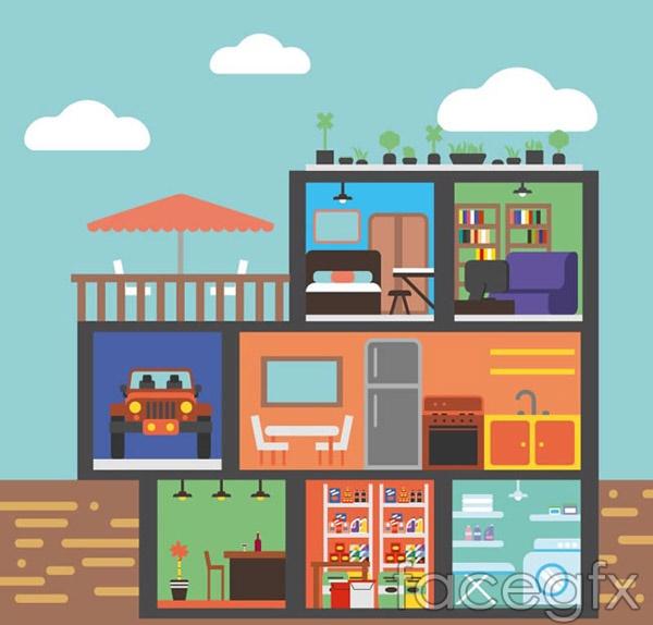 Three-storey house profile vector