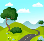 Cartoon mountain highway landscape vector
