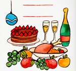 Color Christmas dinner vector