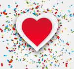 Love and confetti vector