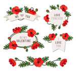 Valentine's day flower label vector