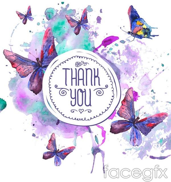 Watercolor butterflies Thanksgiving cards vector